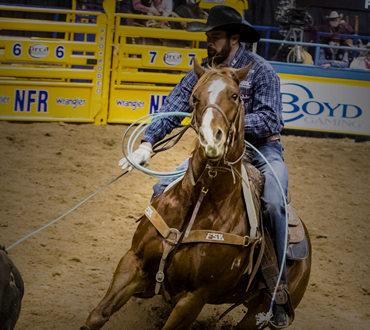 Paul Eaves's rope of choice at the 2017 National Finals Rodeo was the four-strand poly-nylon Classic Powerline Lite.